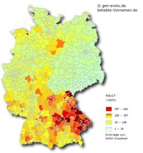 Distribución de los niños llamados Adolf en Alemania (1999)